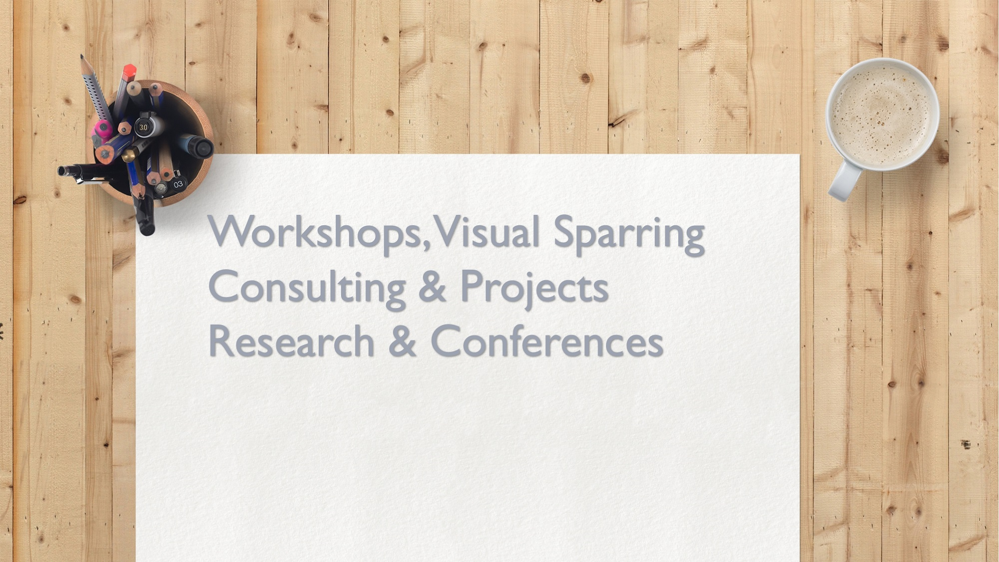 Visual Collaboration Lab, pinnwall, headings (workshop, visual sparring, consulting and projects, research and conferences)