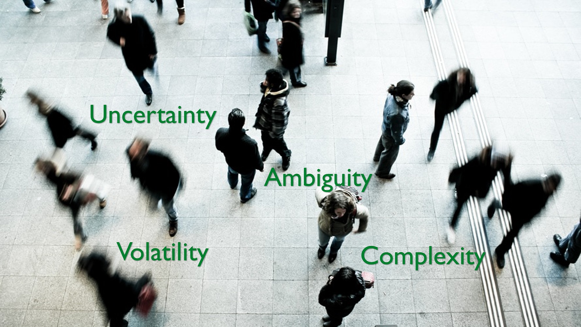blurred people in motion, diverse headings (complexity, volatility, ambiguity, uncertainty)
