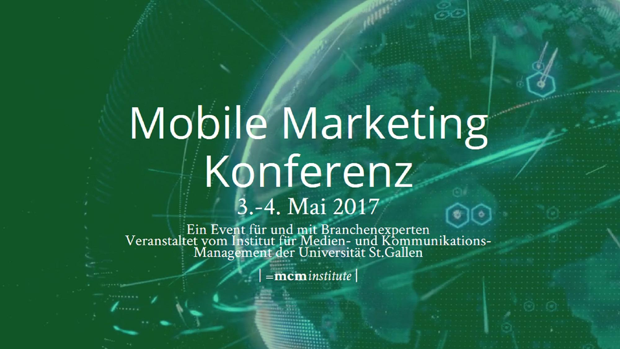 Banner der Mobile Marketing Konferenz mit grüner Erde aus dem All, Kommunikations-Ringe umgeben die Erde